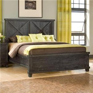 Low Profile King Bed with Rustic Headboard