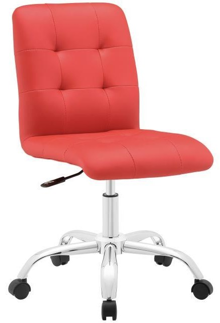 Home Office Prim Armless Mid Back Office Chair In Red by Modway at Value City Furniture
