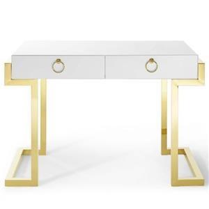 Ring Office Desk In Gold White