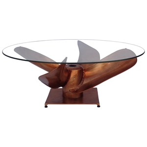 Industrial Fan Coffee Table with Glass Top