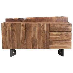 Rustic Solid Wood Sideboard with Three Drawers