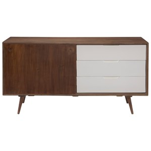 Mid-Century Modern Console with 3 Drawers and Sliding Door