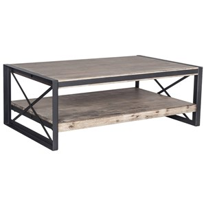 Industrial Wood and Metal Coffee Table with 1 Shelf