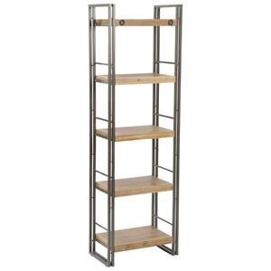 Open Metal Bookshelf with 5 Wood Shelves