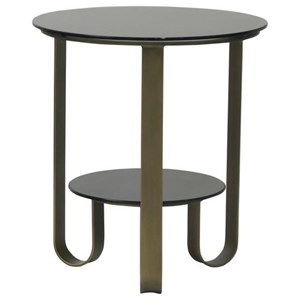 Round Black Glass Side Table