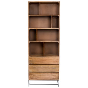 Rustic Bookcase with Three Drawers