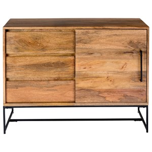 Rustic Solid Wood Small Sideboard with 3 Drawers