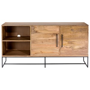 Solid Wood Entertainment Unit with Wire Management