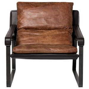 Club Chair with Exposed Metal Frame