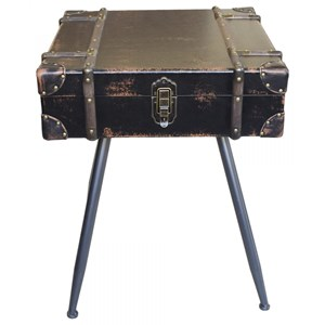 Suitcase Campaign Chest End Table with Lift Top Storage