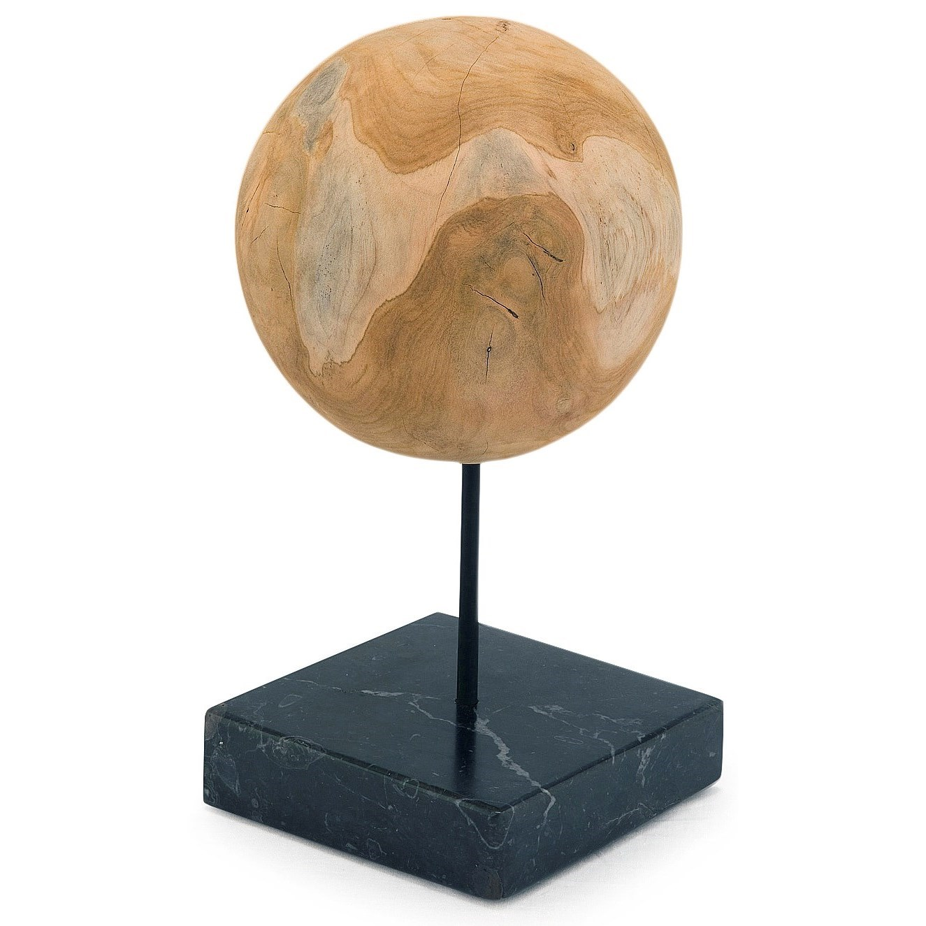 Sculptures Round Teak Ball On Black Marble Base Medium by Moe's Home Collection at Stoney Creek Furniture
