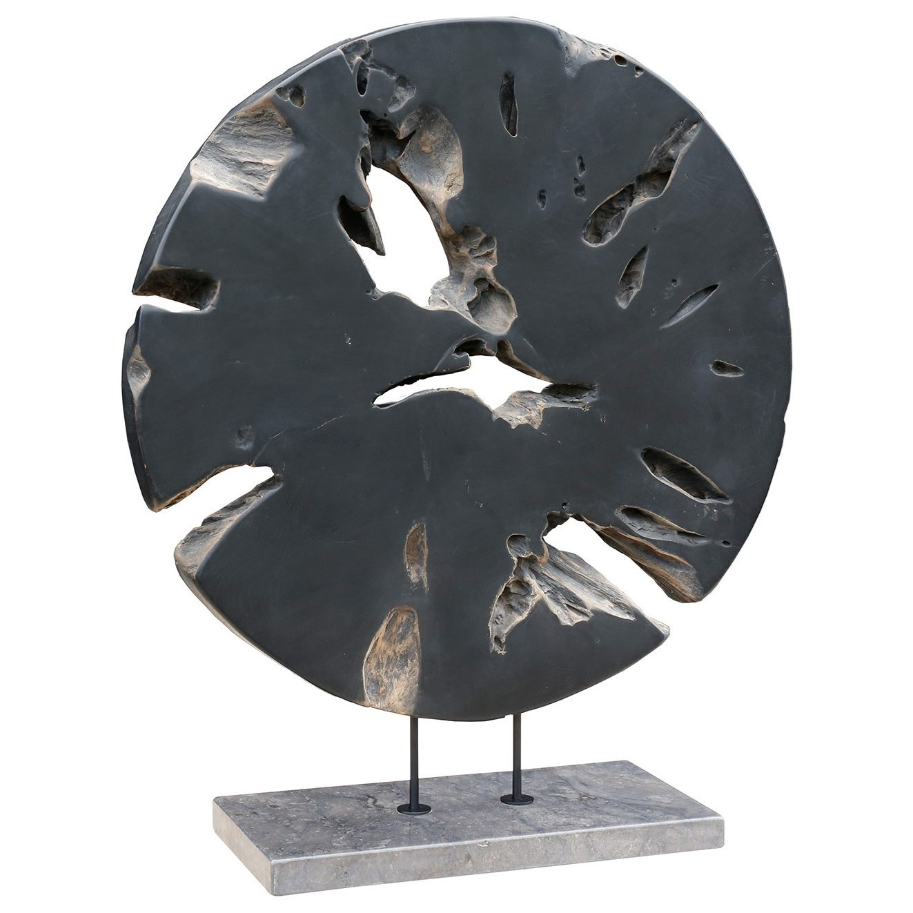 Sculptures Round Teak Wood Art Weathered Grey Large by Moe's Home Collection at Stoney Creek Furniture