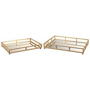 Metal Grid Tray Rectangle With Mirror Bottom