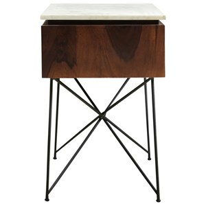 Contemporary 1-Drawer Nightstand with White Marble Top