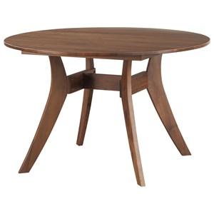 Mid-Century Modern Round Dining Table Walnut