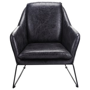 Club Chair with Splayed Metal Base