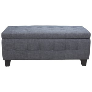 Transitional Upholstered Bench with Interior Storage