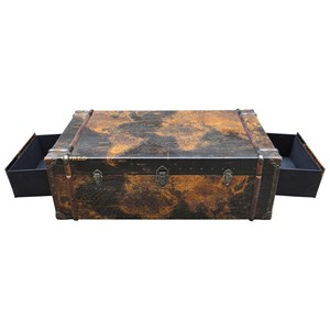 Industrial Trunk Coffee Table with 2 Drawers