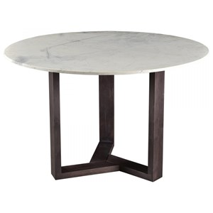 Contemporary Round Dining Table with Marble Top