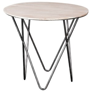 Contemporary End Table with Hairpin Iron Legs