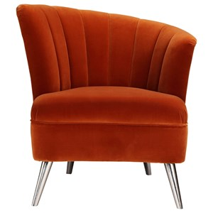 Contemporary Right Facing Velvet Accent Chair