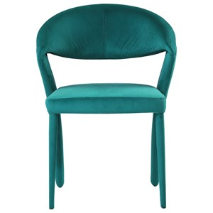 Contemporary Teal Green Upholstered Dining Chair