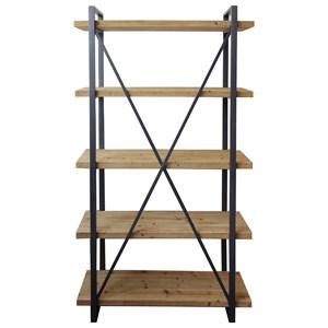 Industrial Wood and Metal 5 Shelf Bookshelf