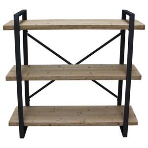Industrial Wood and Metal 3 Shelf Bookshelf