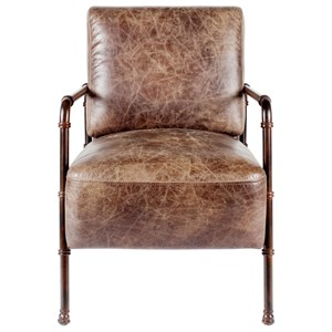 Industrial Steampunk Leather Club Chair with Antiqued Metal Pipe Arms