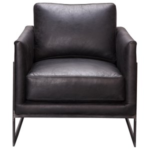 Contemporary Top Grain Leather Club Chair with Metal Legs