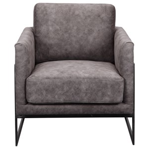 Contemporary Grey Velvet Club Chair with Metal Legs