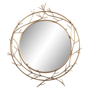 Crown Mirror with Metallic Branches