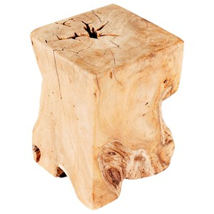 Rustic Live Edge Solid Teak Wood End Table