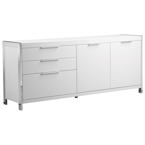 Contemporary White Sideboard with Stainless Steel Trim