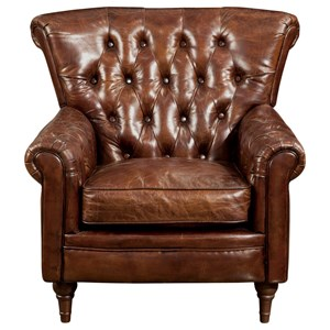 Traditional Tufted Top Grain Leather Club Chair