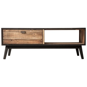 Rustic Industrial Two Tone Solid Wood Coffee Table