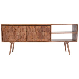 Contemporary 57 Inch TV Stand with Honeycomb Carving