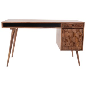 Contemporary Table Desk with 1 File Drawer and Honeycomb Carving