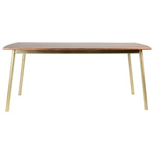 Mid Century Modern Solid Wood Dining Table with Brass Legs