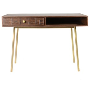 Mid Century Modern Solid Wood Writing Desk with Brass Trim