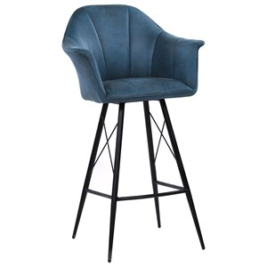 Contemporary Bar Stool in Blue Faux Leather