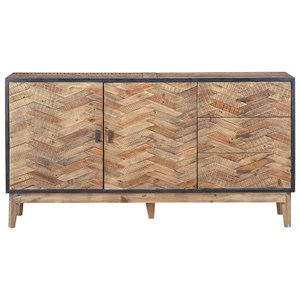 Rustic Industrial Sideboard with Reclaimed Pine Criss Cross Detail
