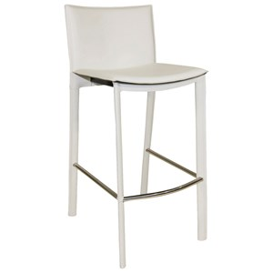 Contemporary Counter Stool with Faux Leather Upholstery