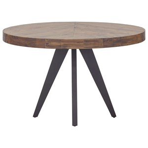Rustic Round Dining Table with Solid Acacia Wood Top
