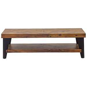 Rustic Rectangular Coffee Table with Solid Acacia Wood