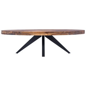 Rustic Oval Coffee Table with Solid Acacia Wood Top