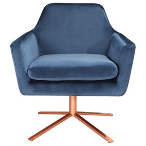 Glam Velvet Arm Chair with Copper Iron Base