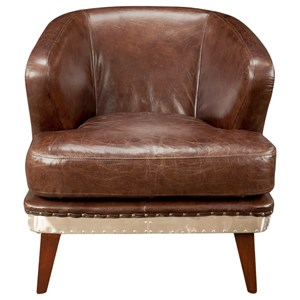 Transitional Club Chair with Welt Trim Accents