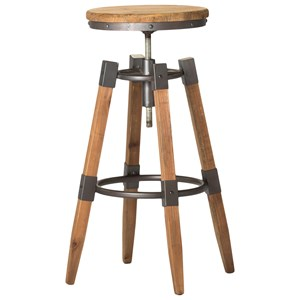 Rustic Bar Stool with Adjustable Seat