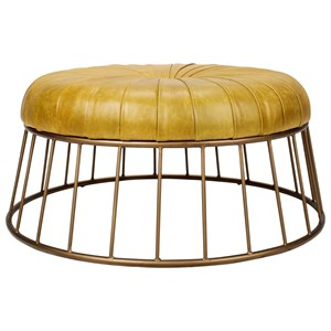 Round Leather Ottoman with Iron Base